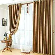 (One Panel) Classic Embossed Brown Blackout Curtain