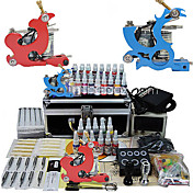 2 Tatoo Guns Kit with LCD Power Supply and 28 Color Ink