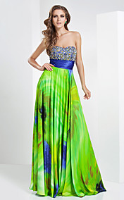 A-line Sweetheart Floor-length Printing Stretch Satin Evening Dress