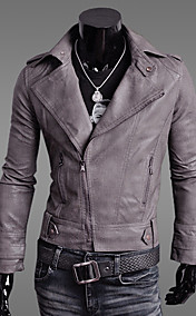 Men's Lapel PU Leather Diagonal Motorcycle Coat