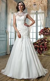Trumpet/Mermaid High Neck Tulle Wedding Dress