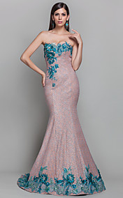 Trumpet/Mermaid One Shoulder Sweep/Brush Train Sequined Refined Evening Dress